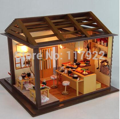 2015 Diy house model space sakura sushi bar sushi toy, novelty miniature model kit with furniture dollhouse for gift(China (Mainland))