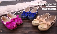 Girls Sneakers 2013 New  Children cow muscle Shiny bowknot flat shoes princess single shoes