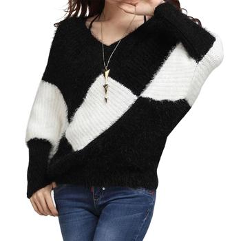 мода женщин свитер 2014 новые приходят осень зима v- шея batwing рукав белый черный плед кашемировый 8183 пуловеры свитера