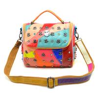 Fashion Women Bags Genuine Leather Handbag Rhinestone Sheepskin Women Messenger Bag Lady Tote Bag Casual Shoulder Bag AT006