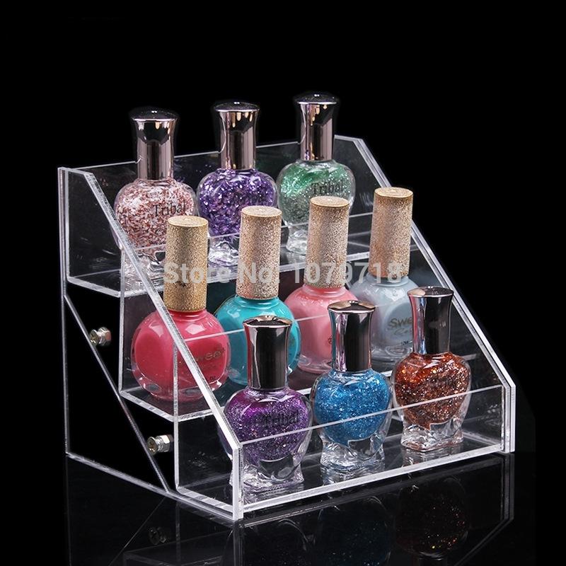 Wholesale DIY 3 layers rectangle clear high quality nail tools nail polish display rack(China (Mainland))