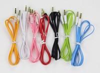 2000pcs/lot 1M Colorful Flat Noodle 3.5mm Male AUX  Audio Cable  for iPhone/Samsung/mp3