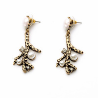 2014 European vintage Fashion luxury pearl cute bronze branch drop earrings women wedding jewelry  Free shipping
