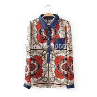 2014 New Autumn Ladies New Design Printed Denim Stitching Slim Cotton Long-Sleeved Turn-Down Collar Blouse Autumn Women Blouse