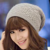 2014 Pearl woolen knit girls winter cap hat Skullies & Beanies for women Apparel Accessories adult gorra raiders rabbit fur H252