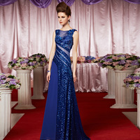 2014 new fashion blue  female boat neck,sleeveless long design  evening dress 30331