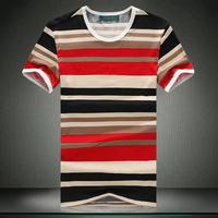 2014 summer male stripe o-neck short-sleeve T-shirt plus size plus size men's clothing M-XXXXXXL FREE SHIPPING