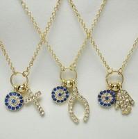 2014 New arrival fashion Turkish crystal faith cross,wishbone,hamsa and blue evil eye pendant necklace one piece