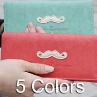 Vintage Women High Quality Wallet PU Leather Zipper Ladies Purses Lady Mustache Purse Female Wallets In Stock