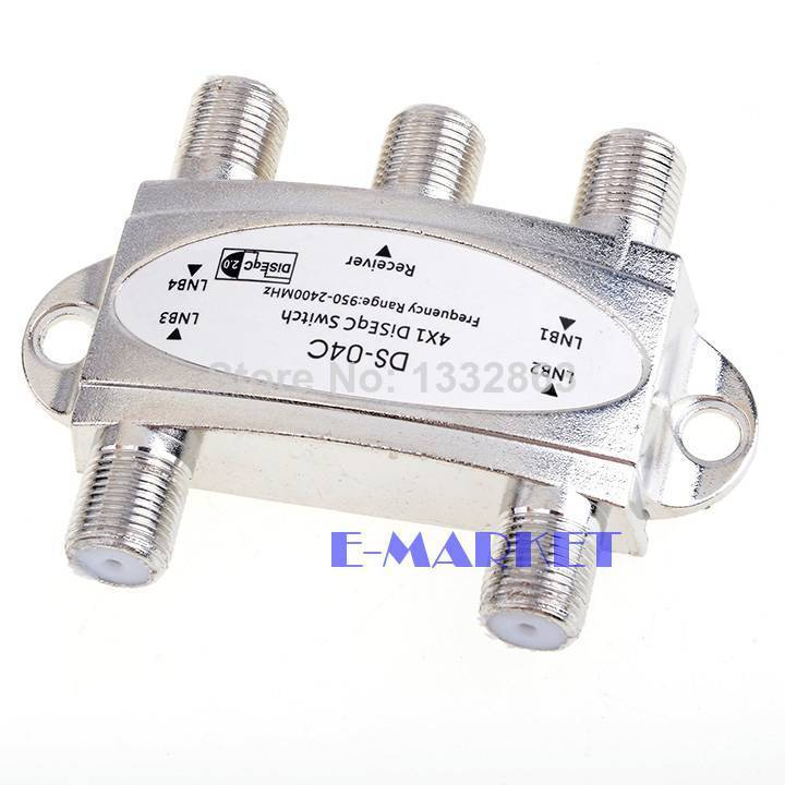 Hot Selling 4 in 1 DS-04C 4x1 DiSEqC Switch Satellites FTA TV LNB Switch For Satellite Receiver #6 SV004211(China (Mainland))