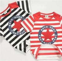 2014 summer new arrival fashion wholesale 5pcs/lot 100% Cotton big all stars striped top tee children kids girls boy t shirts
