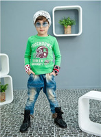 Retail 1pcs/Lot Clothes For Boys Sleeve Shirts Boys Long Sleeve T Shirt Free Shipping