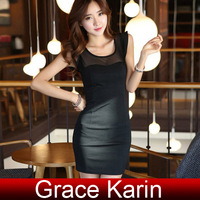 Free Shipping 1pc/lot Black GK Women's Sleeveless Crew Neck Mini Dress Pub Clubwear CL5835