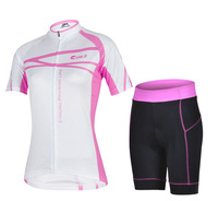 Free shipping!  2014 pink women short sleeve cycling jersey shorts set bike bicycle wear clothes jerseys pants