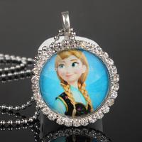 10 strand Frozen Ball Chain Necklace Frozen Princess Anna Pendant Flatback Clear Rhinestone Cabochon for Girl Kids Child Jewelry