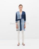 2014 New Fashion Ladies Polka Dot Three Quarter Sleeves V-Neck Printed Blouse Vintage Style Blouses Factory Dropshipping
