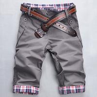 2014 Free shipping summer low waist two buckle pocket design Shorts Korea slim leisure cotton men's shorts  5 color Plus-size
