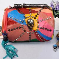 3 color promotion New 2014 Skull CrossBones Rivet bags Crystal Fashion Individuality Cool Bucket Handbag Tassel lambskin Bag