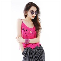 Factory Sale!!! 2014 New Arrival Sexy Floral Crochet Lace Crop Top 3 Colors Available Short Designed Tank Tops For Women #8036