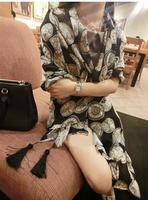 2014 New Fashion woman's autumn summer cotton scarf  baroque vintage clock tassel large facecloth velvet chiffon  female