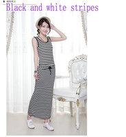 2014 Summer New Women Dress Latest Modal Striped Drawstring Elastic Waist Round Neck Sleeveless Dress Free Shipping Promotion