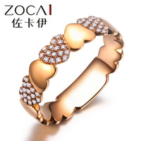 ZOCAI Real 18K rose gold 0.152 CT certified round cut genuine diamond heart shape ring I-J / SI Genuine diamond fine jewelry