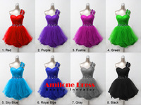Sexy New Short Crystal One Shoulder Sweetheart Graduation Homecoming Dresses Formal Occasion Tulle Knee Length Dress Custom Size