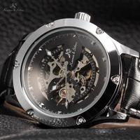 KS NAVIGATOR Series Silver Case Luxury Black Skeleton Transparent Case Back Men Automatic Mechanical Leather Strap Watch / KS209