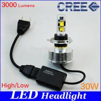 NEW, H4 bixenon LED Headlight Conversion Kits 20W H4 high/low beam 2400 Lumens CREE Chip White LED For Car Fog Light HeadLamp