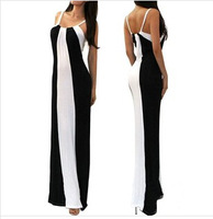2014 New Sexy Multi Color block Striped Mock Women Maxi Summer Dress Casual Long Dress S M L Drop/Free Shipping