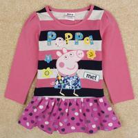 Nova Kids Pepe Pig Decals Cartoon Girls Lovely Long-Sleeved Dress Pink Lace Dress Free Shipping