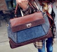 New 2014 Designers Denim Color Patchwork Fashion Vintage Cowboy Women Handbag Ladies Shoulder Bags Freeshipping