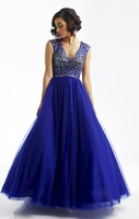 Hot Sell ! A-line V-neckline Tulle Designer Alluring Evening Gown,Special Occasion Dress with Dazzling Beads Encrust the Bodice