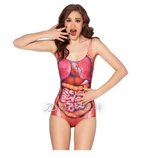 2014 Fashion Novelty Tankinis Set DEM GUTS SWIMSUIT Digital Print Bathing Suit Backless Swimwear Women FREE SHIPPING(China (Mainland))