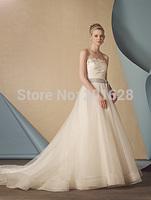 Free Shipping Hot sale Fashionable Ivory/White Wedding dress A-line Sweetheart Applique Vestidos de novia 2014