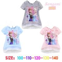 5pcs Children girl's 2014 summer Frozen short sleeve t-shirt  girl clothing 3colors 11865
