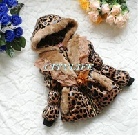 girls leopard winter coat outwear 2014 new fashion design brand quality with leather belt modern style smoothie faux fur coat