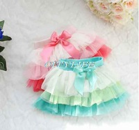 Skirt sweet girl summer skirt mini skirt chiffon layers lace 2014 new fashion baby girl skirts cute with bow red yellow green