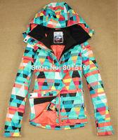 Free shipping 2014 womens geometric figure snowboarding jacket colorful diamond ski jacket waterproof snow parka skiwear anorak