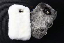Luxury real rex rabbit fur plush Soft leather shell case for Galaxy S4 i9500 Galaxy note