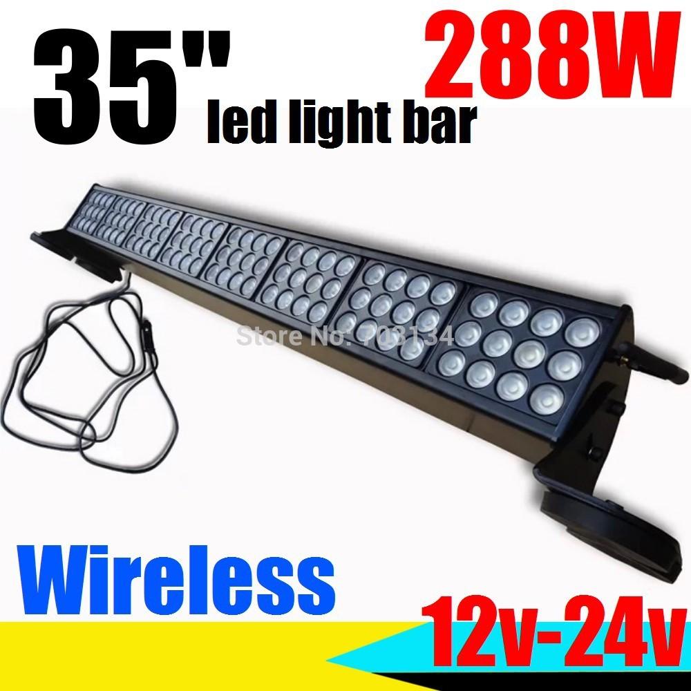 90cm 96LED 288W 12/24V Universal Led car work light bar Wireless remote Auto Roof headlight Offroad Spot/Flood strobe flashlight(China (Mainland))