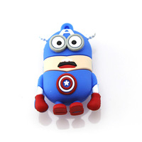 Real capacity Cartoon Minions Captain American Shape usb memory usb flash drive usb stick 2GB/4GB/8GB/16GB/32GB free shipping