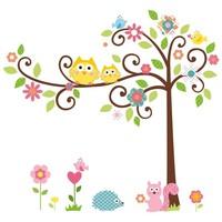 Free Shipping:Owl Scroll Tree Removable Wall sticker Home Decor/Kids Nursery Cartoon Mural Sticker Wall Decal110*130cm