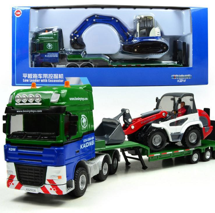 Free shipping! 1 : 50 alloy slide toy models construction vehicles,low loader with excavator model, Baby educational toys(China (Mainland))