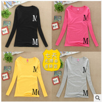 New arrival! 2014 autumn long sleeve women t shirt fashion T-shirts M letter printed 5 colors free shipping