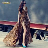 Verragee Autumn Sexy Split Leopard Sleeveless Dress Chiffon Long Maxi Dress Party Evening Dress Women Summer Casual Dress 2014