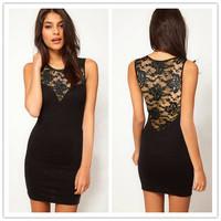Black Lace Sleeveless Bodycon Dress ( M / L) Fashion Women 2014 New Vintage Dresses Clothing