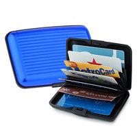 Aluminum Metal Business Card Holder Waterproof ID Credit Card Case Wallet Box - Blue