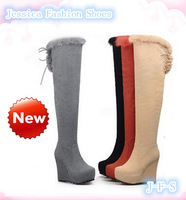 RETAIL ! women's favorite 2014 new arrival Autumn and Winter zipper over-the-knee nubuck leather long boots plus size 39
