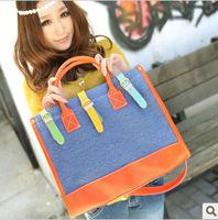 New 2014 Handbag Bohemia Vintage Canvas&PU Patchwork Shoulder Bags Fashion Hand Bag Denim blue and Khaki for Choice Freeshipping